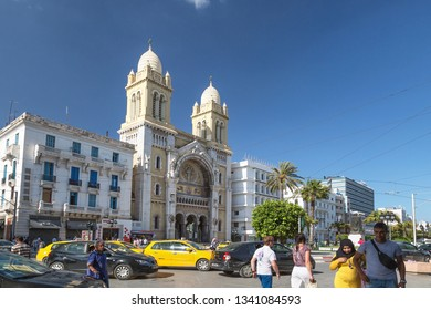 Tunis, Tunisia - May 19, 2017: The Cathedral of St Vincent de Paul. Spring, sunny day. Copy space.