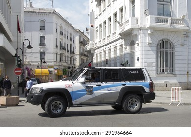 TUNIS, TUNISIA - MAY 24 2015. Police car of Tunis Police Station. Tunis, Tunisia.