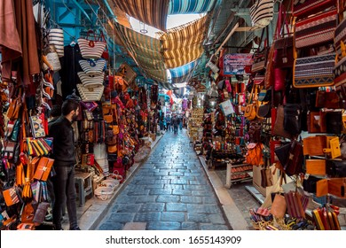 Tunis, Tunisia - Nov 19, 2019: Local market at the Medina