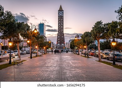 Tunis, Tunisia - Nov 19, 2019: Habib Bourguiba Avenue with the clock tower at the end
