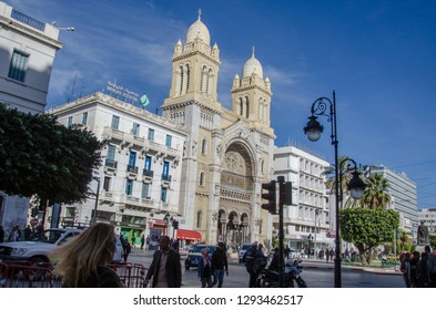 TUNIS, TUNISIA - November 22, 2018: Main cathedral of St. Vincent de Paul in the capital of Tunisia in the city of Tunis in the historic district against the background of the sky