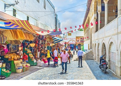 TUNIS, TUNISIA - SEPTEMBER 2, 2015: The old market neighbors with the Great Mosque, on September 2 in Tunis.