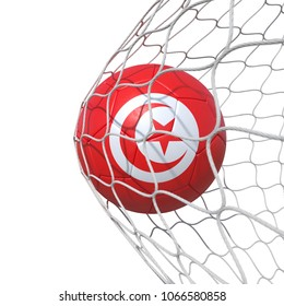 Tunis Tunisia Tunisian flag soccer ball inside the net, in a net. Isolated on white background. 3D Rendering, Illustration.