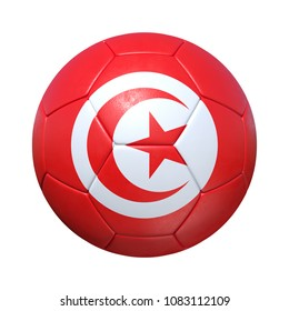 Tunis Tunisia Tunisian soccer ball with national flag. Isolated on white background. 3D Rendering, Illustration.