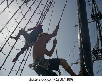 Tunisia, 12 of September 2016: Animation actors group on a pirate ship