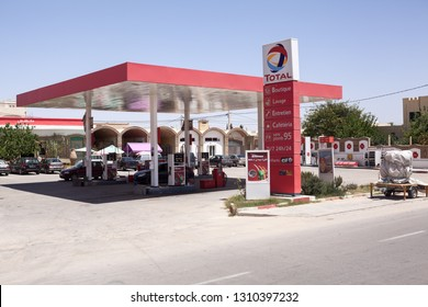 TUNISIA, AFRICA-CIRCA MAY, 2012: Red colored petrol station of Total company with Effimax gasoline. Effimax is the new generation of advanced fuel created by Total technological research center