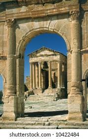 Tunisia. Ancient Sufetula (present day Sbeitla). Entrance to the forum via the triumphal arch.