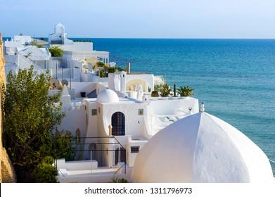 Tunisia, Cap Bon. Hammamet. Typical white roofs of the medina