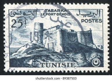 TUNISIA - CIRCA 1954: stamp printed by Tunisia, shows Genoese fort, Tabarka, circa 1954