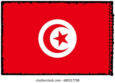 Tunisia flag grunge background. Background for design in country flag