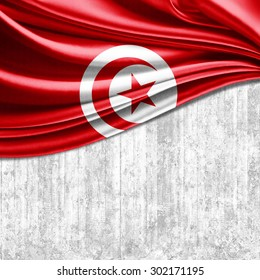 Tunisia flag of silk with copyspace for your text or images and wall background