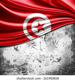 Tunisia flag and wall background