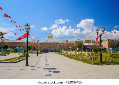 Tunisia flags near Medina in Hammamet, Tunisia