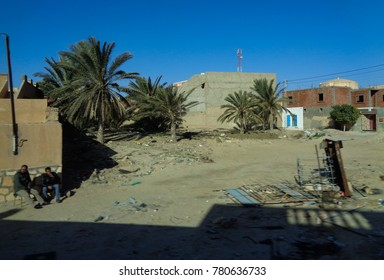 TUNISIA - JANUARY 5 2017: Crossing Tunisia. View of Tunisian villages and towns from the bus window