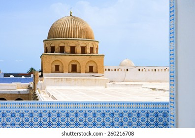 Tunisia, Kairouan, view of the Sidi Oqba mosque, also known as the Grand Mosque, from a terrace of the Medina
