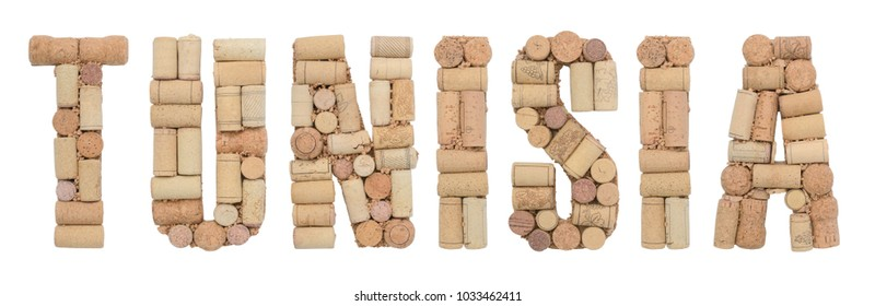 Tunisia made of wine corks Isolated on white background