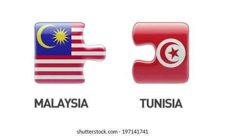 Tunisia Malaysia High Resolution Puzzle Concept
