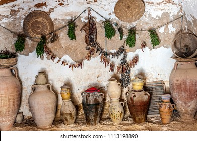 Tunisia, Matmata. The cave-kitchen in the caves-dwellings of Berbers - tragloodites (in translation-living in caves).