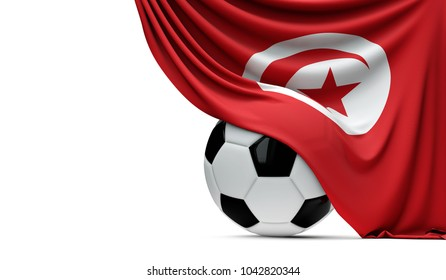 Tunisia national flag draped over a soccer football ball. 3D Rendering