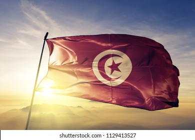 Tunisia national flag textile cloth fabric waving on the top