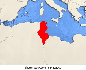 Tunisia in red on political map with watery oceans. 3D illustration