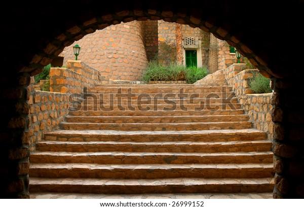 Tunisia, Sahara, stairs - Hotel - decorative garden,