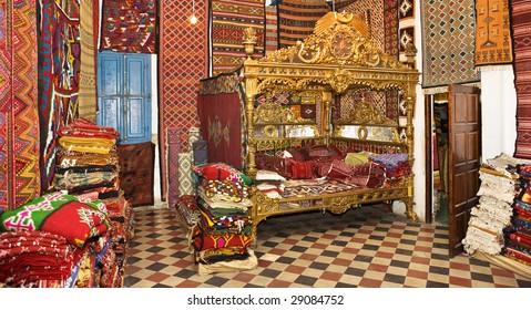 Tunisia. Tunis - Medina. Inside carpets store (Palais d'Orient)