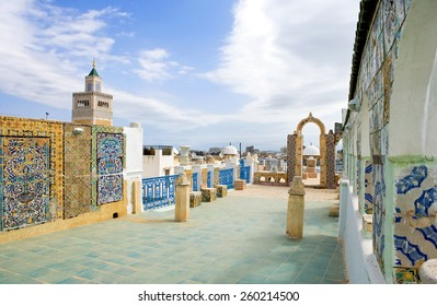 Tunisia, Tunis, view of traditional architectures from a Medina terrace