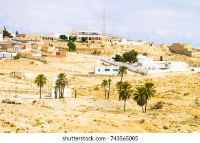 Tunisia. Village of Matmata. Landscapes of the desert.