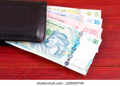 Tunisian money in the black wallet