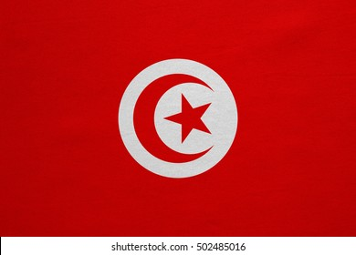 Tunisian national official flag. African patriotic symbol, banner, element, background. Correct colors. Flag of Tunisia with real detailed fabric texture, accurate size, illustration