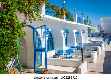 Tunisian restaurant's close-up. Sidi Bou Said - town in northern Tunisia known for its blue and white architecture