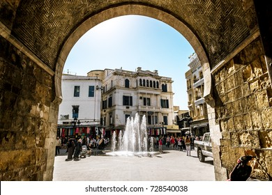 Tunisia.Tunisia.May 25, 2017.Arch in the Medina in the capital of Tunisia