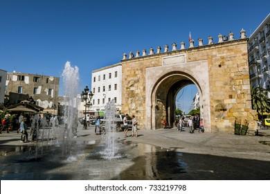 Tunisia.Tunisia.May 25, 2017.Arch in the Medina in the capital of Tunisia