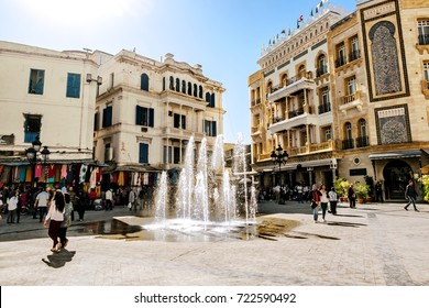 Tunisia.Tunisia.May 25, 2017.Square with a fountain in the Medina in the capital of Tunisia