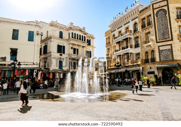 Tunisia.Tunisia.May 25, 2017.Square with a fountain in the Medina in the capital of Tunisia