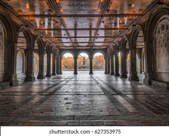 Tunnel to Bethesda Terrace and Fountain overlook The Lake in New York City's Central Park.