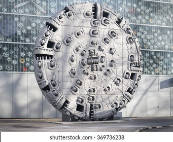 tunnel boring machine head on display at the Swiss transportation museum - Lucerne, Switzerland