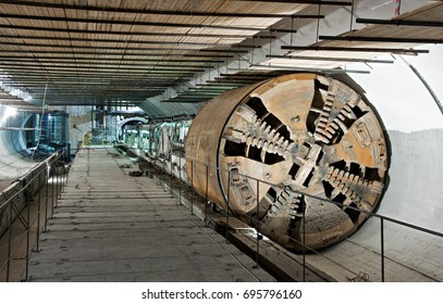 Tunnel boring machine on the subway station under construction