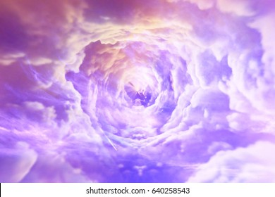 Tunnel from clouds background texture watercolor fairy-tale design unusual colorful