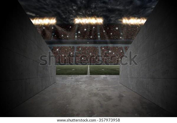 Tunnel to a football Stadium.
