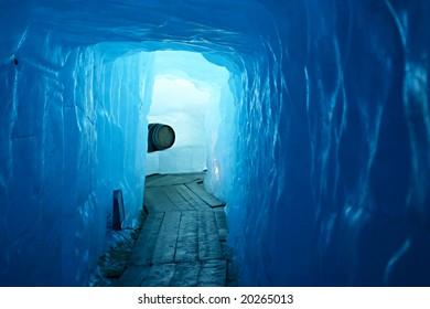 Tunnel in the ice inside Rhone glacier, Switzerland