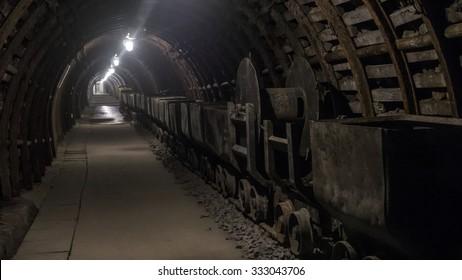 A tunnel in Julia coal mine in Walbrzych,