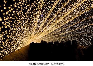 The tunnel of light in Nabana no Sato garden at night in winter, Nagano, Japan