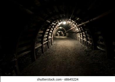Tunnel in mine, reinforced passageway in coal mine.