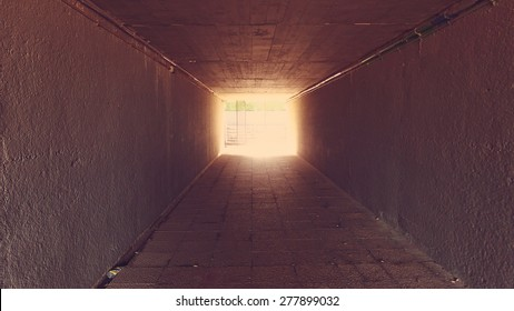 Tunnel with misteryous light at ending