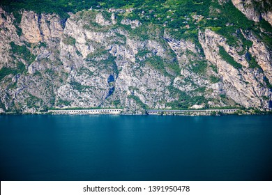 tunnel in the mountains leading through the rock in the north of Garda lake, Italy