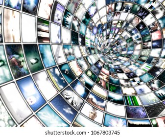 Tunnel of multimedia screens. 3D rendering