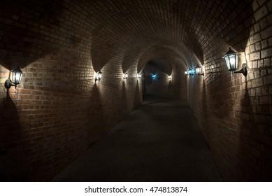 Tunnel passage in Citadel of Alba Iulia city in Romania