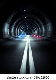 Tunnel with red and blue signal lights